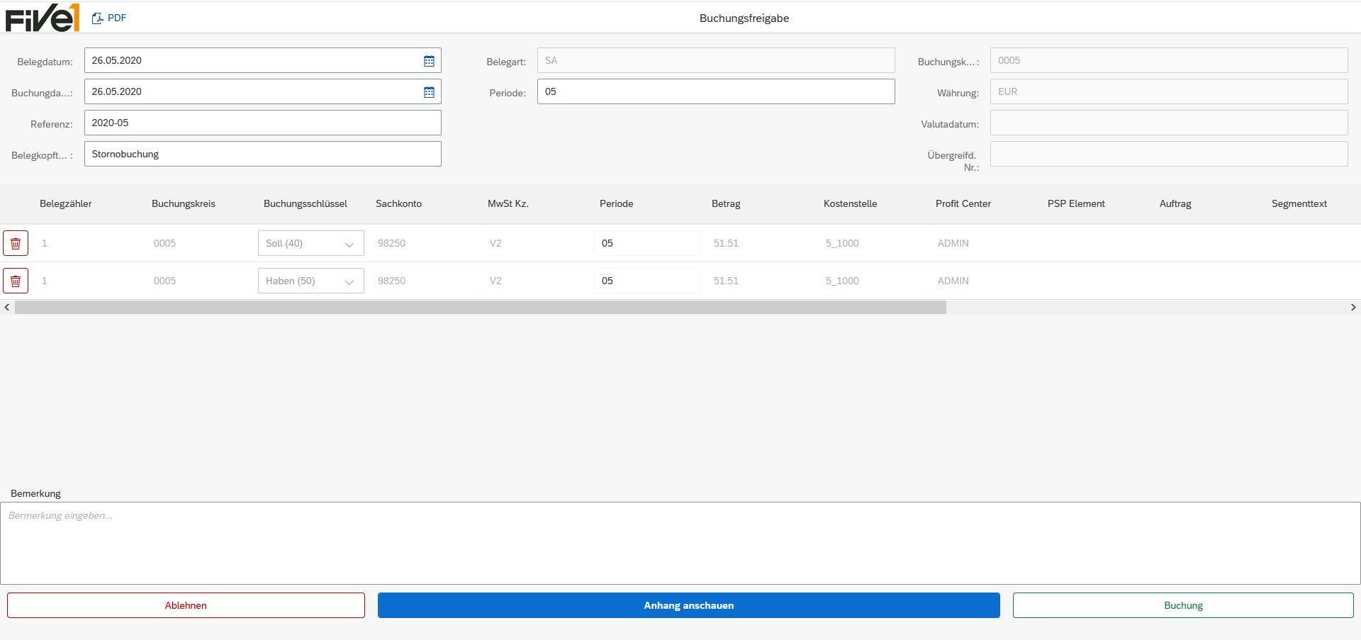 Der Buchhalter verbucht die Daten im SAP System über die Schaltfläche Freigabe